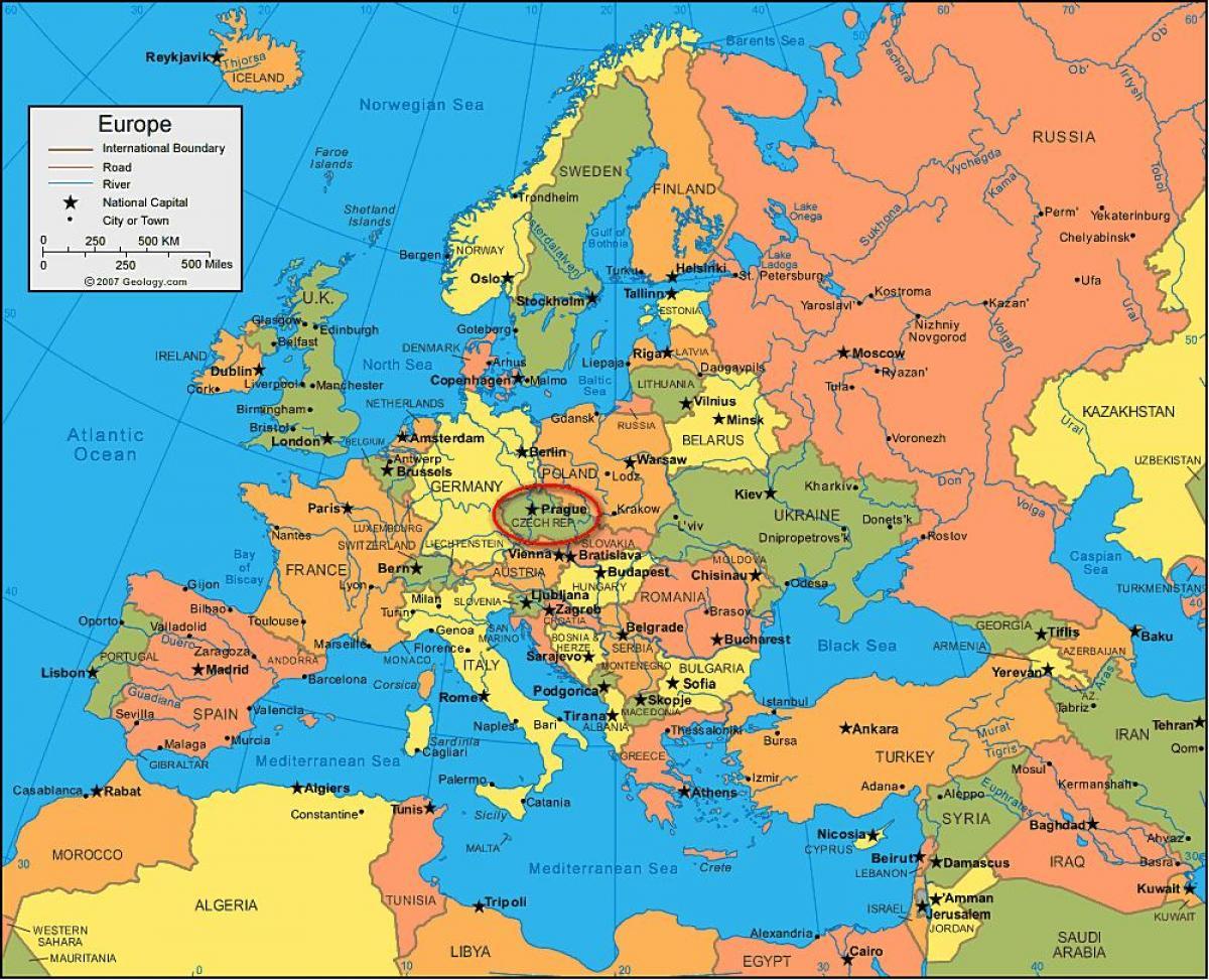 Republique Tcheque Carte Europe.Prague Localisation Sur Une Carte De L Europe Carte De